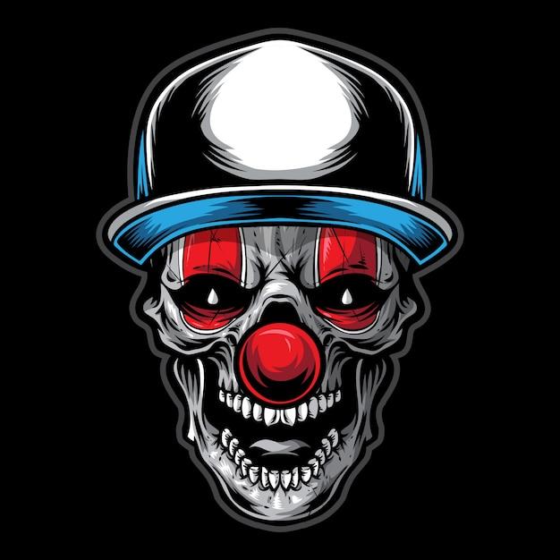 Skull clown illustration Premium Vector