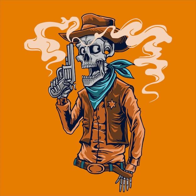 Skull cowboy sheriff Premium Vector