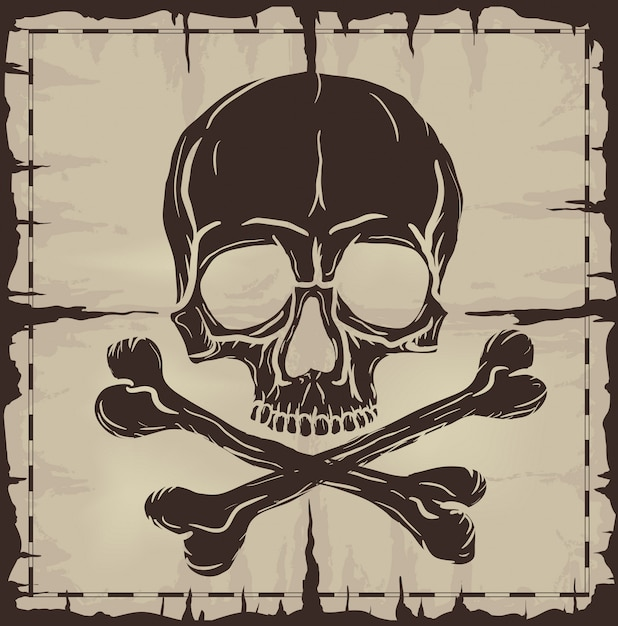 Skull and crossbones over old damaged map Premium Vector