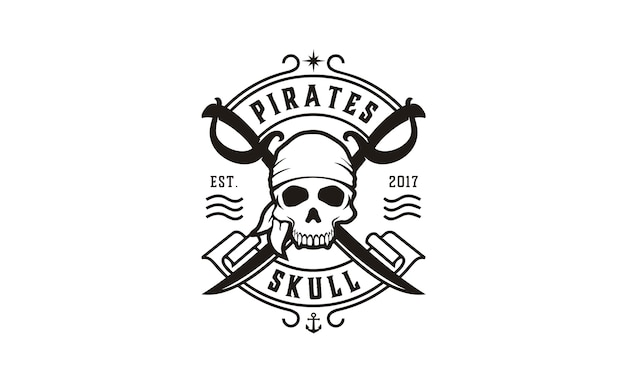 Skull & crossing swords pirates logo Premium Vector