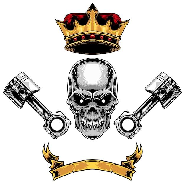 skullcrownpistonribbon set vector premium download