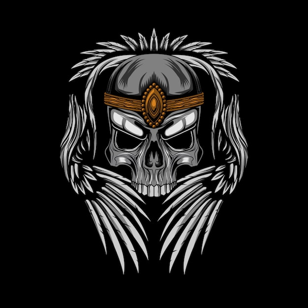 Skull crown with wings vector illustration Premium Vector