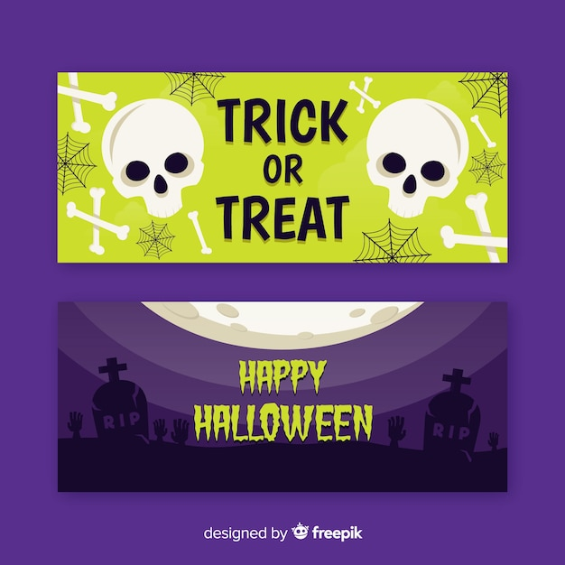 Skull and dead flat halloween banners Free Vector