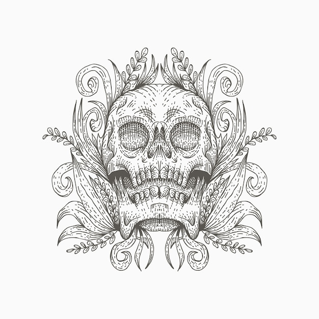 Skull decoration vector illustration Premium Vector