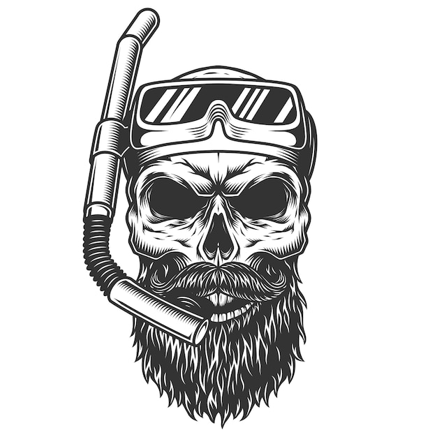 Skull in the diving mask Free Vector