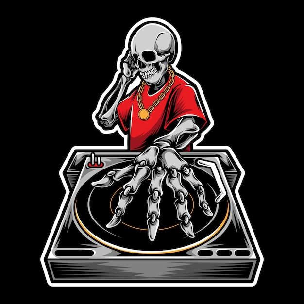 Skull dj  logo illustration Premium Vector