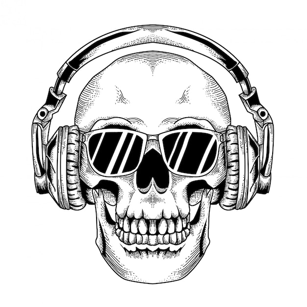 Skull dj with black glass Premium Vector