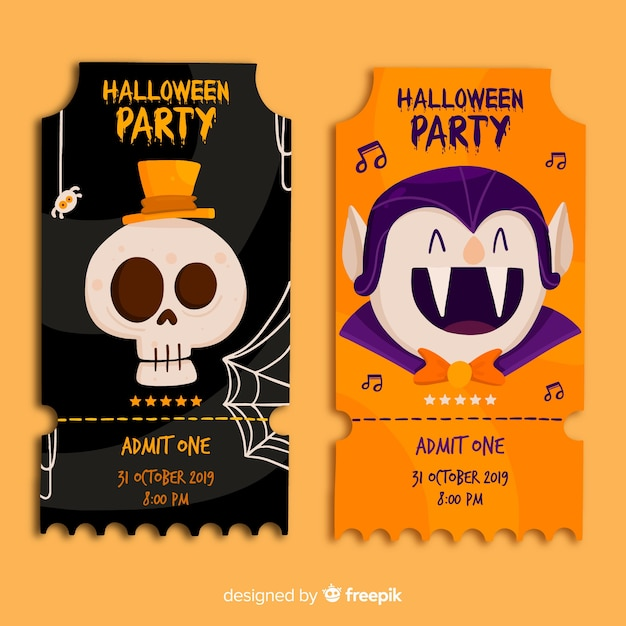 Skull and dracula halloween tickets in flat design Free Vector