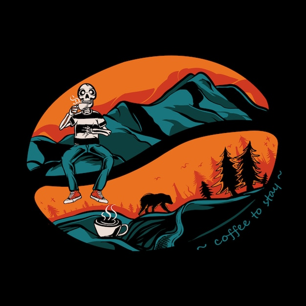 Skull drinking coffee on the mountain illustration Premium Vector