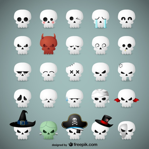 Skull emoticons for halloween Free Vector
