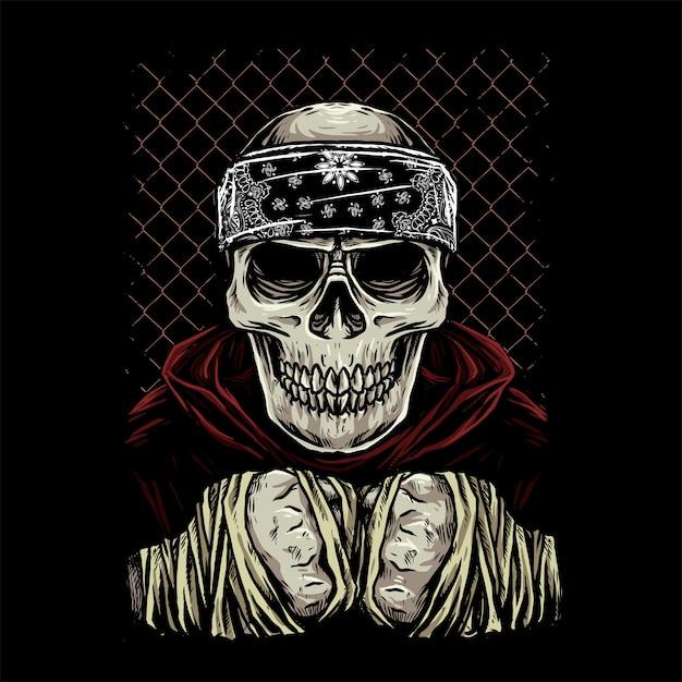 Боец черепа с банданой и капюшоном Premium векторы