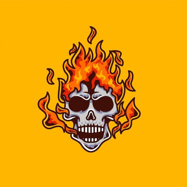 Skull fire head mascot and esport gaming logo Premium Vector