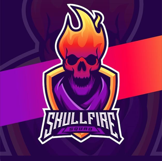 Skull fire head mascot esport logo design Premium Vector