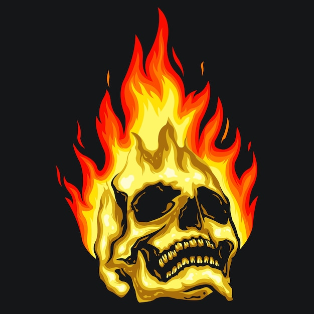 Skull fire illustration Premium Vector