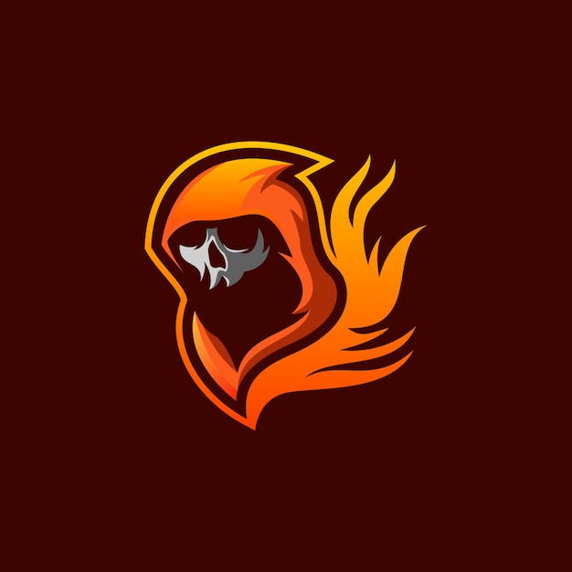 Skull fire logo Premium Vector