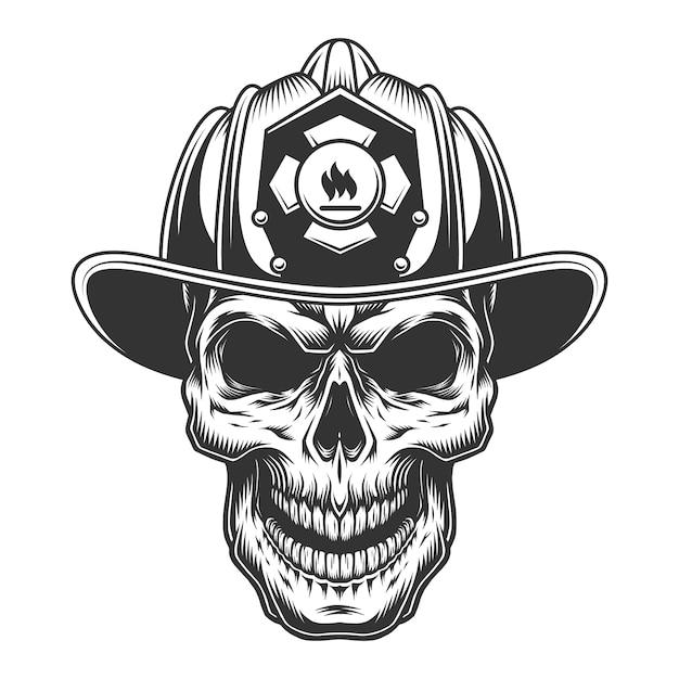 Cranio nel casco pompiere Vettore gratuito