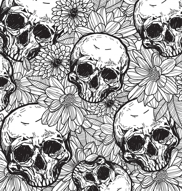 Skull and flower hand sketch with line art Premium Vector