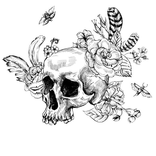 Skull, flowers day of the dead, black and white vector illust Premium Vector