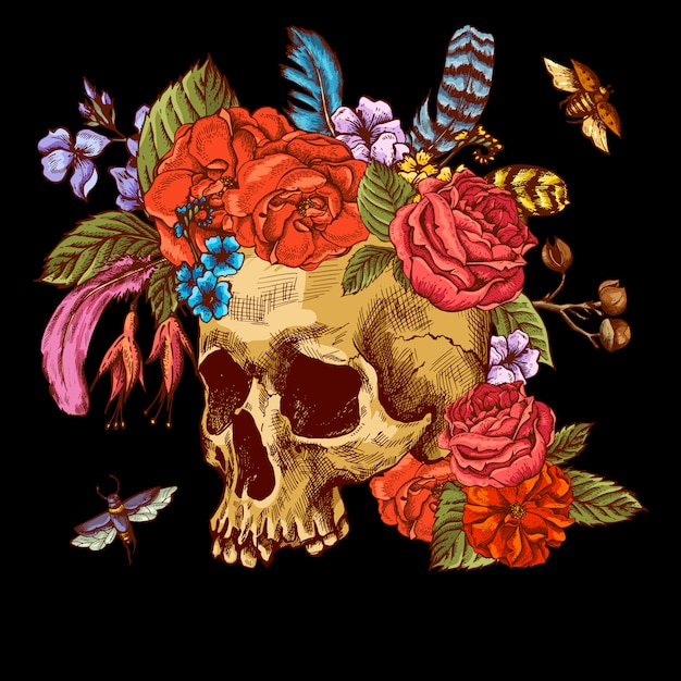 Skull and flowers day of the dead Premium Vector