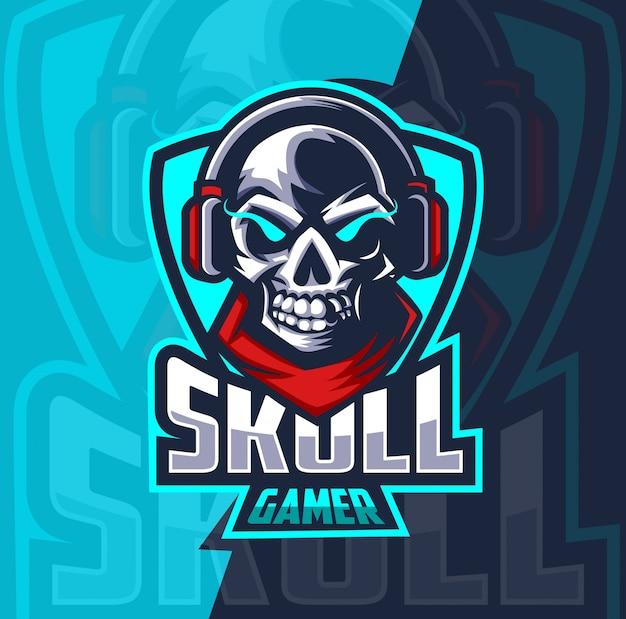 Skull gamer mascot esport logo design Premium Vector