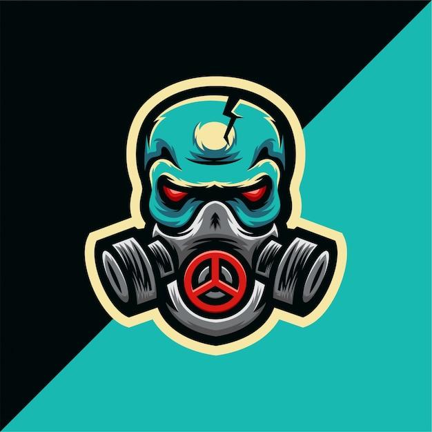 Premium Vector Skull Gas Mask Esport Logo