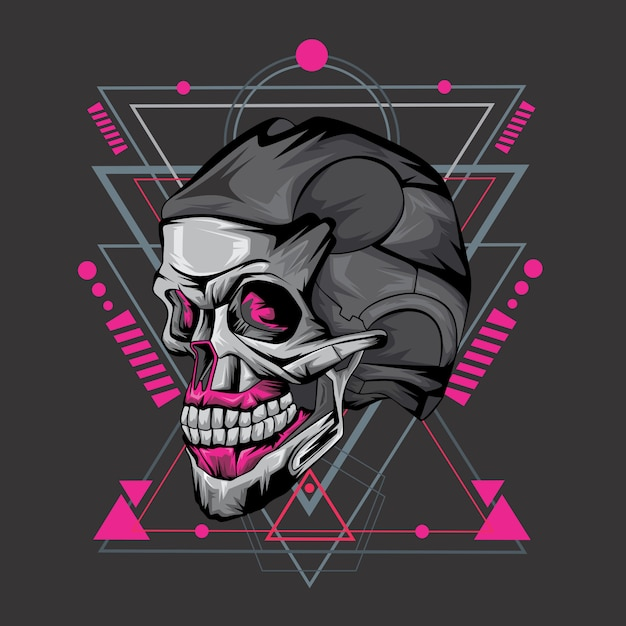 Skull and geometry Premium Vector