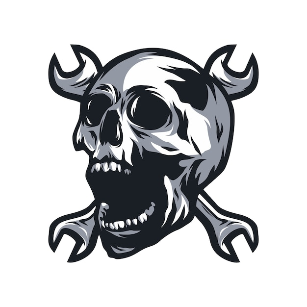 Skull ghost rider road vector logo design illustration Premium Vector