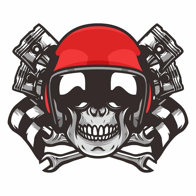 Skull ghost rider road vector logo design illustration Premium Vector
