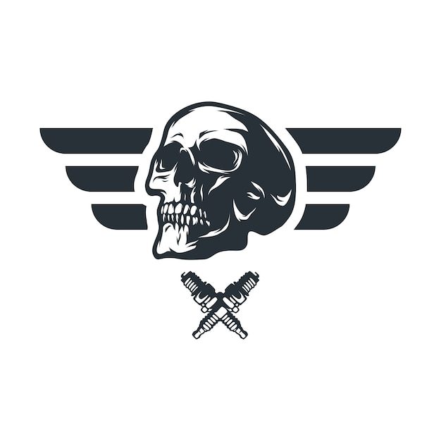 Skull Ghost Rider Road Vector Logo Design Illustration Vector