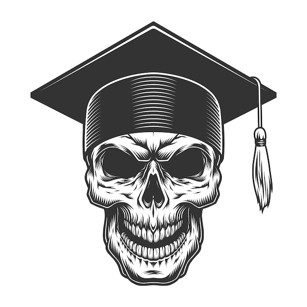 Skull in the graduate hat Free Vector