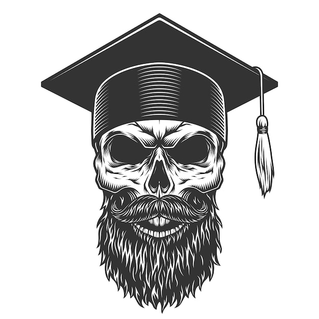 Skull in the graduated hat Free Vector