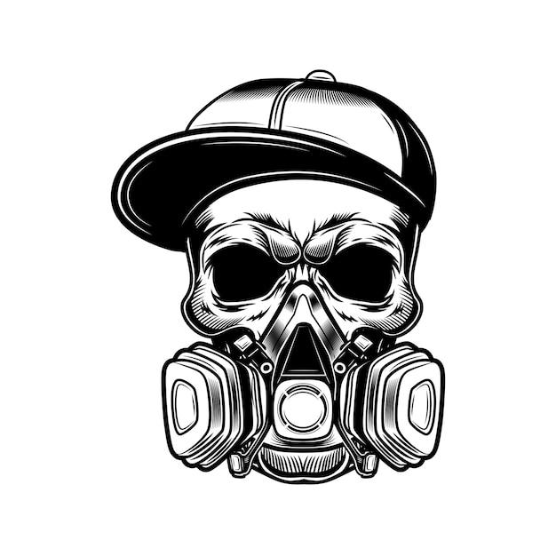 Cranio di illustrazione vettoriale artista di graffiti. testa di scheletro in berretto gangster e respiratore. concetto di arte di strada Vettore gratuito