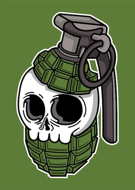 手描きの頭蓋骨手榴弾のイラスト Premiumベクター