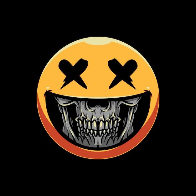 Skull grin emoticon illustration Premium Vector