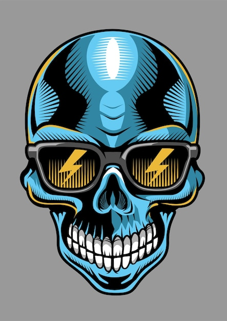Skull hand drawn illustration design Premium Vector