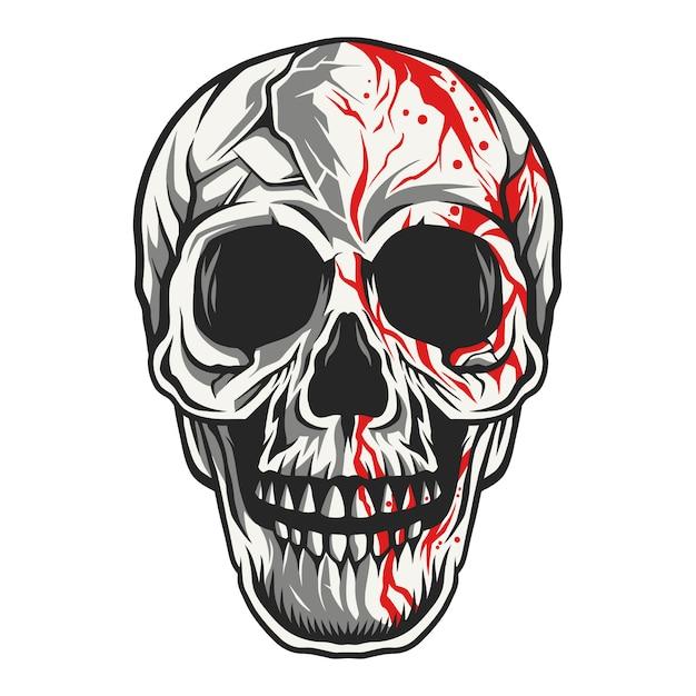 해골 머리 주사위 그림 피 물이 뚝뚝 떨어지는 프리미엄 벡터