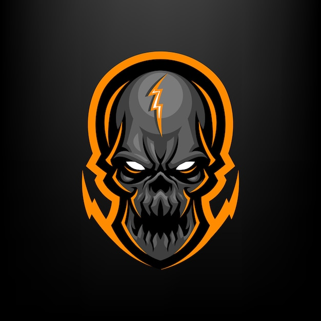Skull head mascot illustration for sports and esports logo isolated on black background Premium Vector