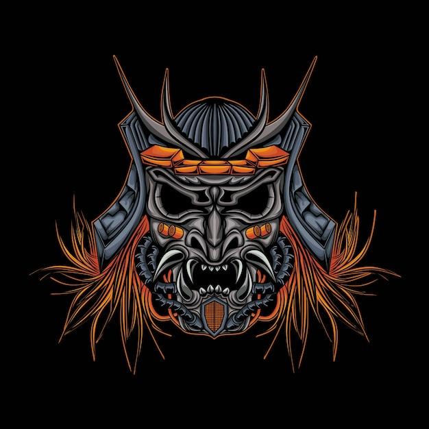 Skull head robotic samurai illustration Premium Vector