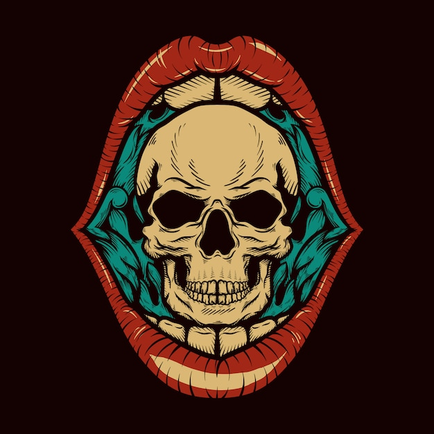 Skull head with open mouth vintage retro engraved illustration Premium Vector