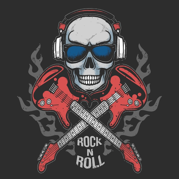 Skull headphone music party with guitar fire rock n roll artwork Premium Vector