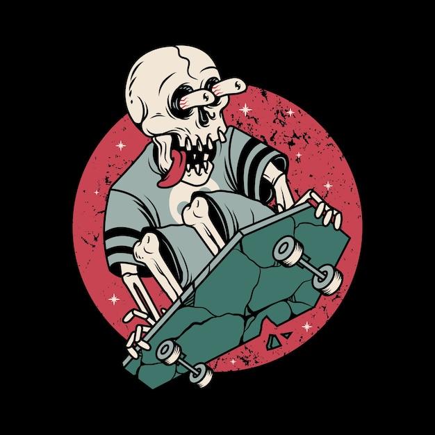 Skull horror playing skateboard graphic illustration art tshirt design Premium Vector