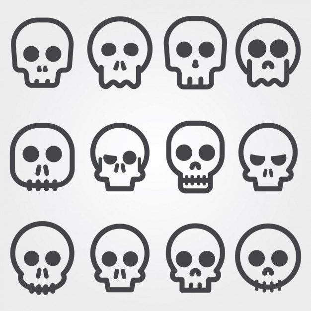 Skull icons collection Free Vector