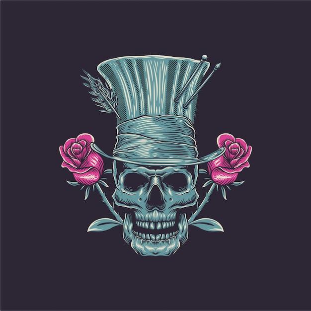 Skull illustration with rose Premium Vector