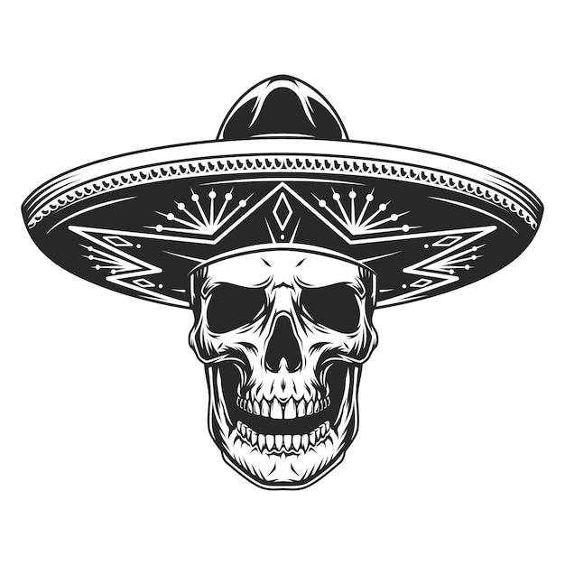 メキシコのソンブレロ帽子の頭蓋骨 無料ベクター