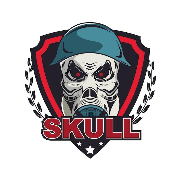 Skull in military helmet and gas mask logo template Vector | Premium ...