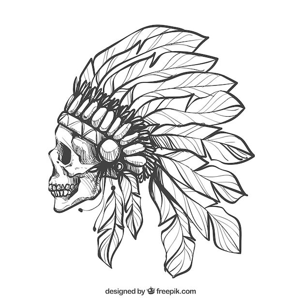skull in profile with feathers hat vector