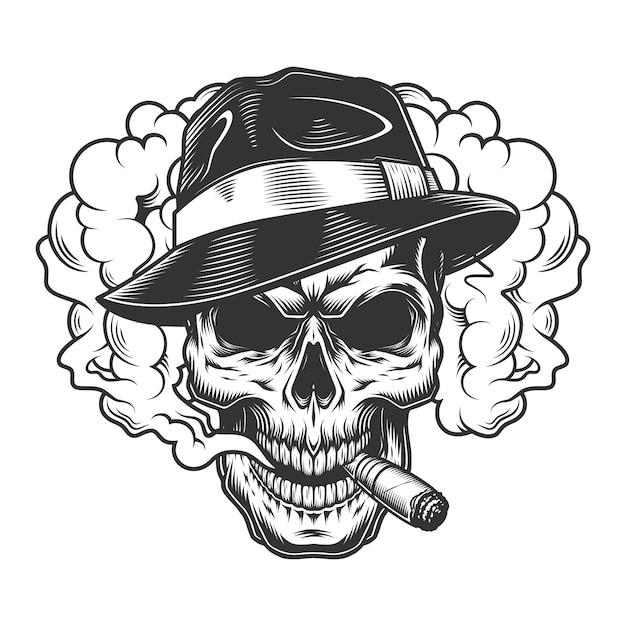 煙の雲の頭蓋骨 無料ベクター