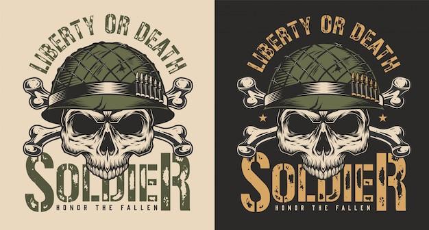 군인 헬멧 티셔츠 인쇄 개념의 두개골 무료 벡터