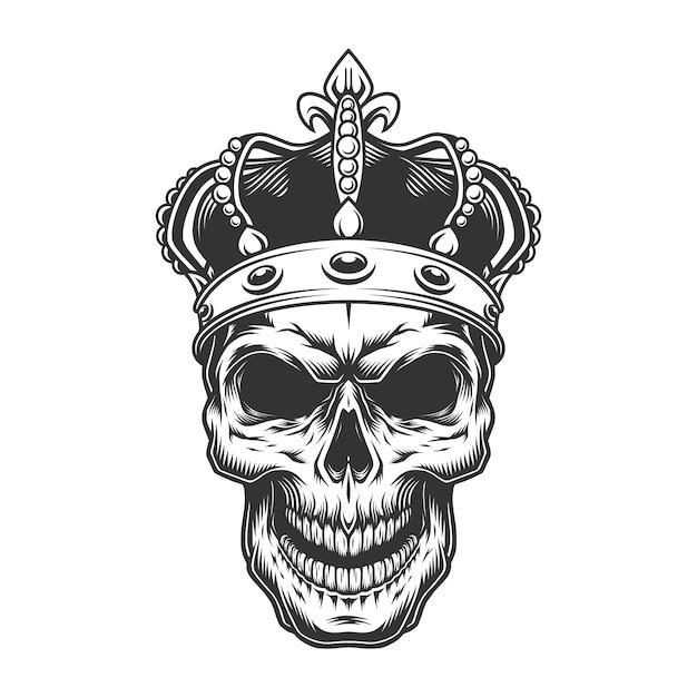 Череп в короне Бесплатные векторы