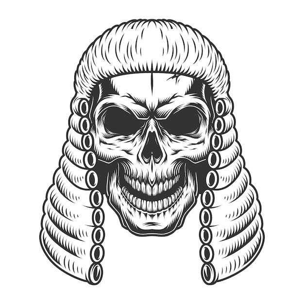 판사 가발의 두개골 무료 벡터